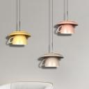Macaron Coffee Cup Shape Pendant Lighting Ceramics 1-Light Restaurant LED Ceiling Suspension Lamp in Pink/Grey/Green