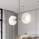 Round Panel Restaurant Hanging Chandelier Acrylic 2/3 Bulbs Postmodern Ceiling Pendant Lamp in Gold