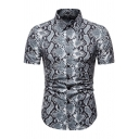 Boys Unique Short Sleeve Lapel Neck Button Up Snake Printed Curved Hem Slim Fit Shirt in Gray