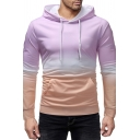 Fancy Classic Mens Long Sleeve Drawstring Colorblock Ombre Kangaroo Pocket Fitted Hoodie
