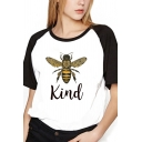Cool Womens Raglan Short Sleeve Round Neck Letter KIND Bee Graphic Colorblock Relaxed Fit Tee Top