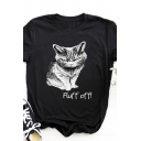 Simple Girls Rolled Short Sleeve Crew Neck Letter FLUFF OFF Cat Graphic Slim Fit T-Shirt