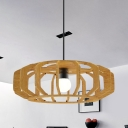 Asia Style 1 Bulb Ceiling Hang Fixture Beige Lantern Frame Pendant Lamp Kit with Wood Shade