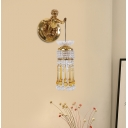 Brass Teardrop Sconce Light Fixture Traditional Crystal 1-Light Living Room Wall Lamp with Boy Backplate