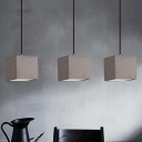 Cement Grey Hanging Lighting Cube 1 Bulb Industrial-Style Pendant Lamp Kit for Bedside