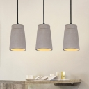 Cylinder Bedroom Ceiling Pendant Light Vintage Cement 1 Light Grey Hanging Lamp Fixture