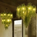 1/2-Layer Restaurant Chandelier Lamp Industrial Iron 8/14 Heads Green Plant Down Lighting Pendant