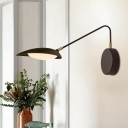 Coffee Oval Sconce Light Fixture Modernist Metallic LED Wall Mounted Lamp with Adjustable Arm for Bedroom