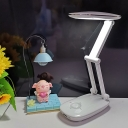 Round Study Room Desk Lighting Modernism LED White Reading Book Lamp with Foldable Arm