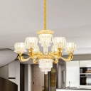6/8 Lights Crystal Block Pendant Modernist Gold Lotus Dining Room Chandelier Lamp Fixture