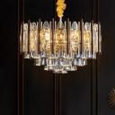 7 Lights Cone Suspension Lighting Modern Gold Faceted Crystal Chandelier Pendant Lamp