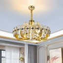 8-Light Prismatic Crystal Pendant Light Contemporary Gold Round Panel Living Room LED Chandelier with Cone Shade