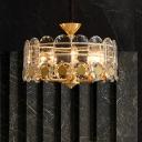 Gold Oval Panel Hanging Chandelier Modernism Beveled Crystal 9-Head Restaurant Suspension Lamp