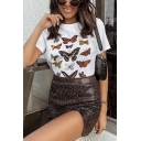 Stylish Ladies Short Sleeve Round Neck Butterfly Printed Regular Fit T-Shirt in White