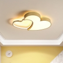 Creative Double Loving Heart Ceiling Mount Acrylic LED Bedroom Flushmount Light in Golden