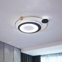Cartoon LED Flush Mount Lighting Golden Orbit Ceiling Light Fixture with Acrylic Shade in Warm/White Light