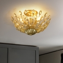 Retro Stylish Peacock Tail Ceiling Flush 3 Lights Clear Crystal Semi Mount Lighting in Gold