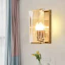 Brass Box Wall Light Fixture Antiqued Clear Seeded/Sleek Crystal Panel 1 Bulb Parlor Wall Sconce