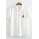 Fancy Ladies Short Sleeve Lapel Neck Button Up Strawberry Embroidered Contrasted Regular Fit Polo Shirt