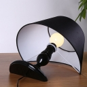 Reclined Fabric Night Light Designer 1 Head Bedroom Table Lamp with Tapered Shade in White/Black