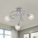 Modernist Ball Clear Glass Ceiling Light 3 Bulbs Semi Flush Mount with Winding Arm and Curled Wire Decor in Chrome