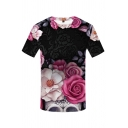 Fancy Stylish Mens Short Sleeve Crew Neck Flower 3D Pattern Colorblock Fitted T Shirt in Black