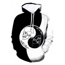 Popular Cool Guys Long Sleeve Drawstring Yin Yang Skull 3D Printed Color Block Pouch Pocket Relaxed Black and White Hoodie