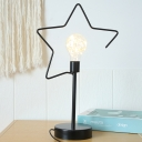 Metallic Star/Loving Heart Frame Table Light Cartoon Black/Gold Finish LED Plug-In Nightstand Lamp