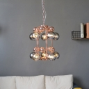 Rose Gold 2 Tiers Bubble Chandelier Modern Style 10 Bulbs Amber/Smoke Glass Hanging Lamp