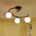 Acrylic Saucer LED Semi Flush Lighting Macaron 3 Bulbs Black Flush Mounted Lamp with Ball White Glass Shade