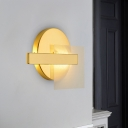Designer Rectangle Iron Wall Lighting LED Wall Sconce in Gold with Square Clear Glass Shield