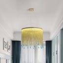Cascading Tassel Fringe Pendant Light Modernist Aluminum Gold 16