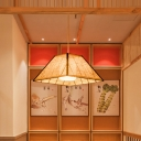 Grid Trapezoid Rattan Pendant Lamp Asian 1 Bulb Beige Hanging Light Fixture for Restaurant