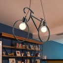 Kids Cool Bicycle Iron Island Lamp 2 Lights Hanging Pendant with Bare Bulb Design in Black/White over Table