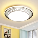 Etch Drum Bedroom Flush Mount Light Acrylic LED Contemporary Ceiling Flush in Black and White