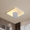 Square Flush Light Fixture Modern Acrylic LED White Flush Mount in Warm/White Light, 18