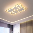 Rectangle Flush Mounted Lamp Contemporary Acrylic LED White-Gold Flushmount Light in Warm/White Light
