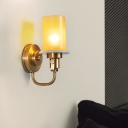 Amber Glass Pillar Wall Light Kit Vintage Single-Bulb Sitting Room Sconce Lamp with Brass Curved Arm