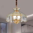 Seeded Glass Panes Brass Chandelier Light Barn Shaped 4-Head Hanging Lamp over Table