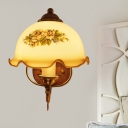 Tan Glass Flower Wall Light Fixture Vintage 1 Light Study Room Wall Sconce with Wood Backplate