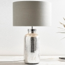 Grey Drum Shade Table Light Rustic Fabric 1-Light Living Room Night Lamp with Crackle Bottle Base