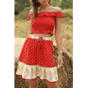 Fancy Ladies Off the Shoulder Ditsy Floral Print Ruffled Fit Pleated Crop Top & Colorblock Short Pleated A-Line Skirt Co-Ords