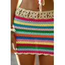 Chic Ethnic Girls Mid Rise Open Knitted Colorful Stripe Print Scalloped Mini Fitted Skirt