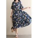 Popular Fancy Womens Short Sleeve Round Neck All Over Floral Printed Ruffled Linen Midi Pleated Swing Dress