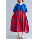 Fashion Womens Short Sleeve Round Neck Floral Printed Patchwork Color Block Linen and Cotton Maxi Pleated Oversize Dress in Blue and Red
