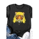 Trendy Girls Rolled Short Sleeve Crew Neck Funny Tiger Pattern Relaxed Fit T Shirt