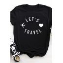 Chic Womens Roll Up Sleeve Crew Neck Letter LET'S TRAVEL Plane Heart Graphic Slim Fitted Tee Top