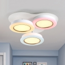 Macaron Round Flush Mount Acrylic 3 Heads Kids Bedroom LED Flush Ceiling Light in White-Pink-Yellow, Warm/White Light