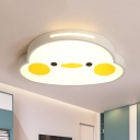 White and Yellow Duck Flush Light Cartoon LED Acrylic Flush Mount Lamp for Living Room