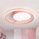 Lollipop Shape Flush Mount Lighting Cartoon Acrylic LED Pink Flush Ceiling Lamp Fixture